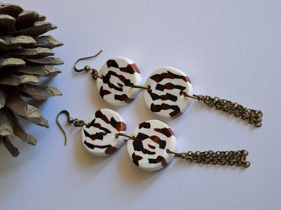 Long kinda leopard pattern earrings Boho Bohemian dancing