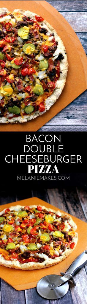 The perfect marriage of a burger and pizza, this Bacon Double Cheeseburger Pizza has it all! A ketchup and mustard based sauce, a pound of ground beef, bacon, pickles, onions and tomatoes make this pizza a winner every time.