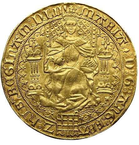 Rare English Gold Sovereign of Queen Mary   Sovereigns are large, thin gold coins that feature imposing portraits of the respective monarch. The Mary I Gold Sovereign coin was issued under the authority of the first Queen Regnant of England, Mary Tudor (Mary I), daughter of Henry VIII. She was also the the grand-daughter of Queen Isabella and King Ferdinand of Spain.