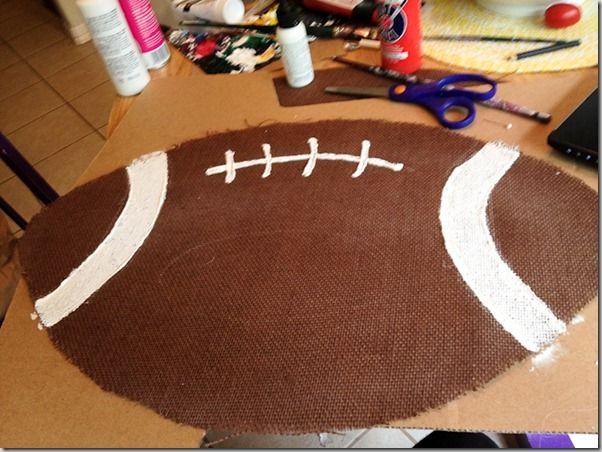 DIY: Burlap Football Door Hanger. MUST DO THIS.