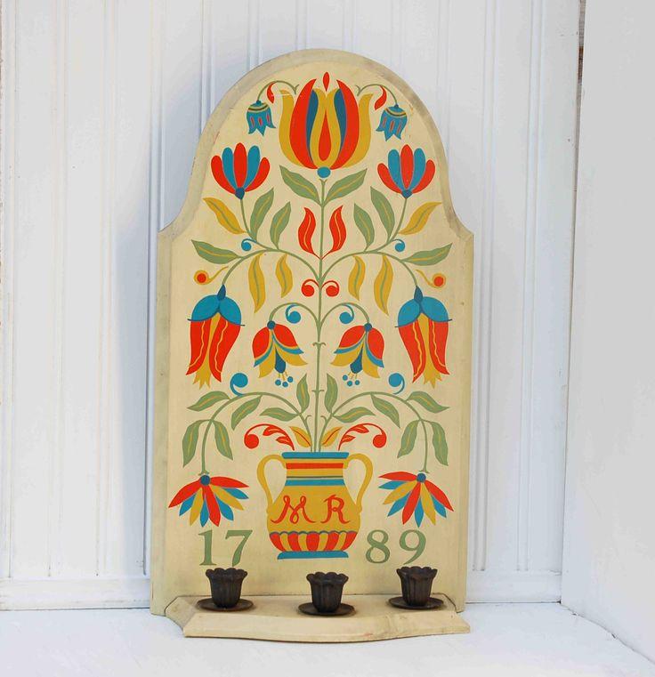 Vintage Candle Holder Pennsylvania Dutch Folk Art