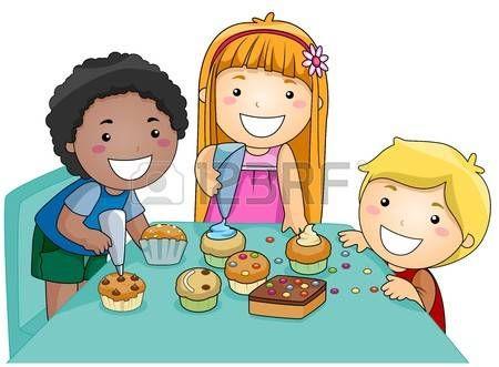 Illustration of Kids Decorating Cupcakes Stock Photo