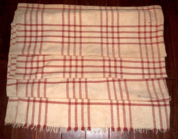 """Primitive Turkey Red Blanket of Homespun Linen Early 1800s Large Size 68"""" x 85"""""""