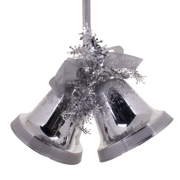 Silver Double Bell Decoration - 16cm