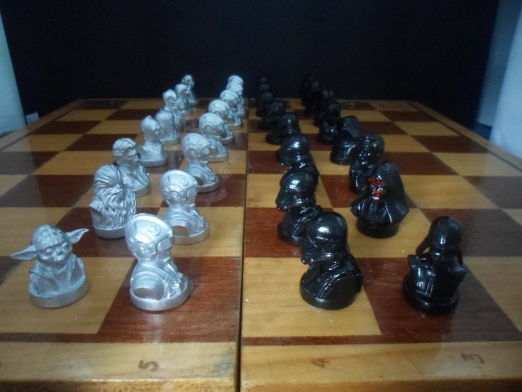 Silver/Black Chess set Star Wars iron, Metal, Husband gift, mens gift, father, boyfriend gift, brother gift. Used Silicone molds