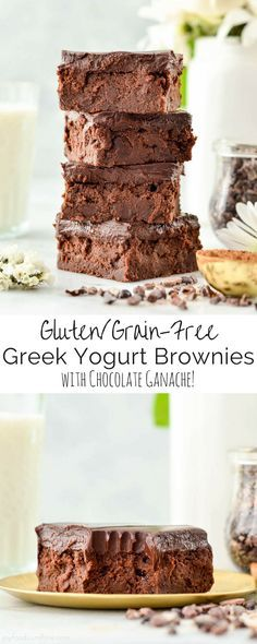 Healthy Greek Yogurt Brownies with Chocolate Ganache are so fudgy and delicious that no one ever suspects they're healthy! The perfect dessert recipe to feed a crowd!  Gluten-free & grain-free!