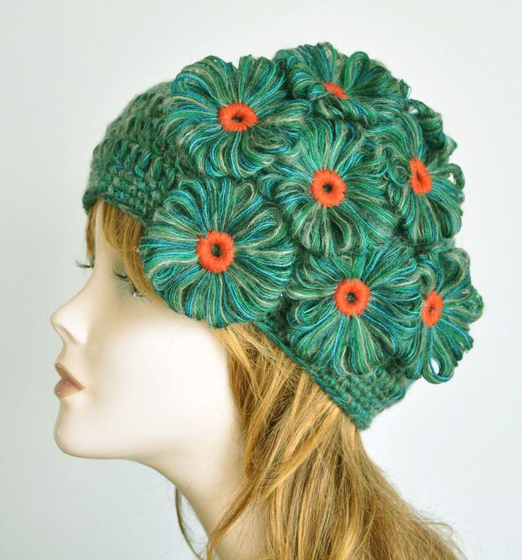 Peacock - Green - Loom Flower Applique Crochet Adult Hat by jennysunny on Etsy