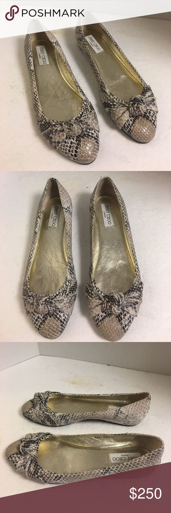 New Jimmy Choo snake embossed leather ballet flats Gorgeous pair of Jimmy Choo natural snake embossed leather ballet flats. New without box. Size 38 1/2. Jimmy Choo Shoes Flats & Loafers
