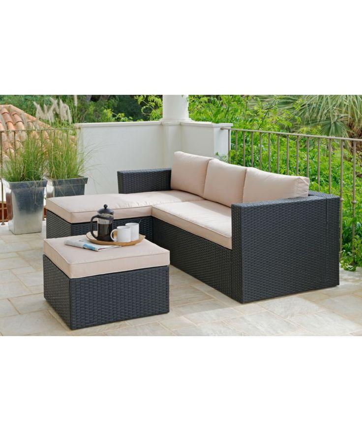 Buy Hand Woven 3 Seater Rattan Effect Mini Corner Sofa At