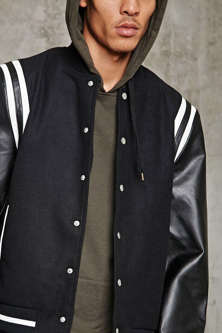Woolen Two-Tone Bomber Jacket - Men - Outerwear - 2000213796 - Forever 21 EU English