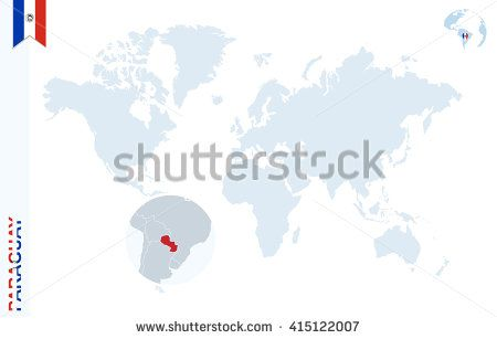 World map with magnifying on Paraguay. Blue earth globe with Paraguay flag pin. Zoom on Paraguay map. Vector Illustration