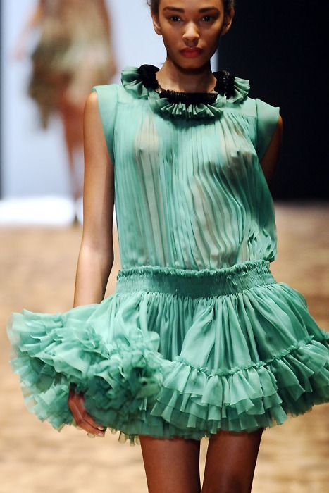 {Absoposilutely Love It. The color, the pleats, and the ruffles. All of it.}