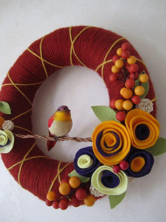 Bird Yarn Wreath  Brick Yellow Purple 12 by polkadotafternoon, $42.00