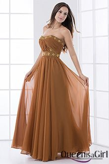 Corte A Strapless Escote Corazón Largo / Hasta el Suelo Gasa Vestido de Noche - CHF115.19
