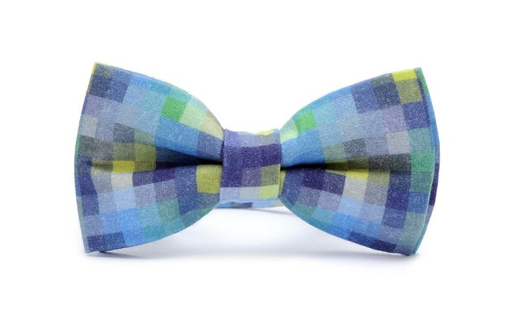 50 shades of blue, PIXEL PRINTED bow tie! Organic,  certificated cotton. Unique fabric design.