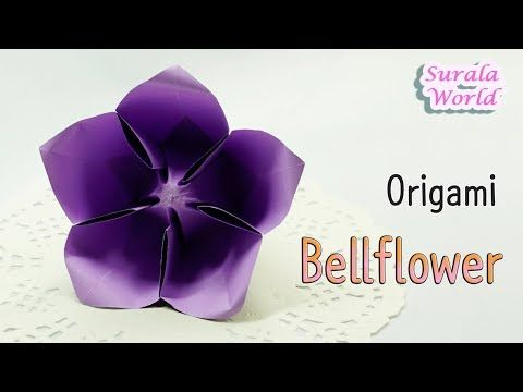 Origami - Bellflower, Balloon Flower (paper flower) - YouTube