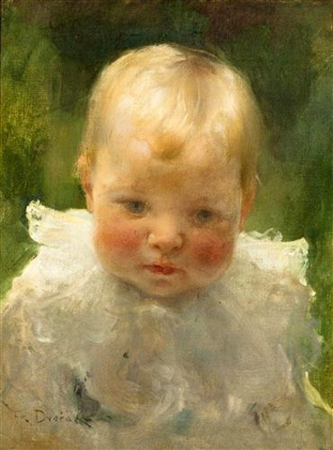 """Child Portrait"" -- by Franz Dvorak (American, 1862 – 1927)"