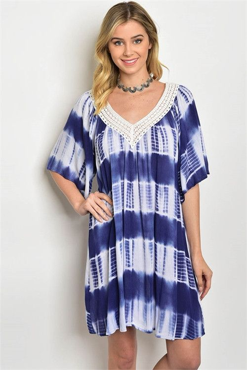 Navy & White Tie Dye Lace Neckline Beach Tunic Dress