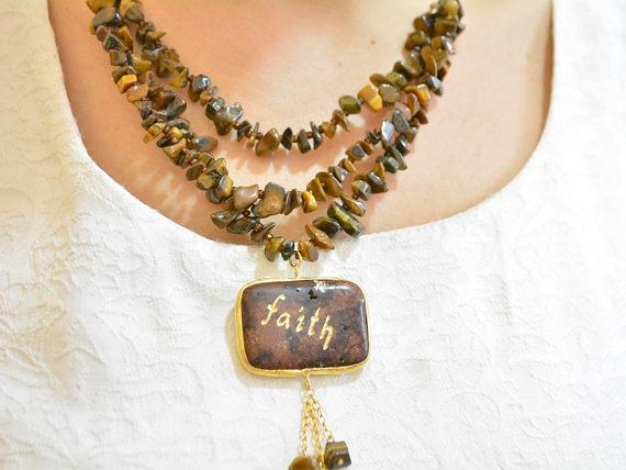 faith necklace name necklace handmade jewelry by grandbazaars faith necklace, name necklace, handmade jewelry, religion jewelry,religious necklace, calligraphy, faith pendant, calligraphy on gemstones  Handmade multistrand necklace. Brown colored turqouise necklace, made only one for etsy.  The 'Faith' word engraved by a Turkish Calligraphy artist in Grand bazaar. Multistrand choker necklace made with brown tigereye irregular shape beads.