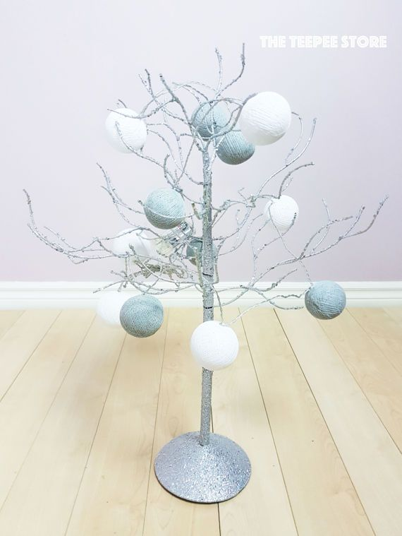 White and Grey 12 Cotton Balls String Light  String Ball