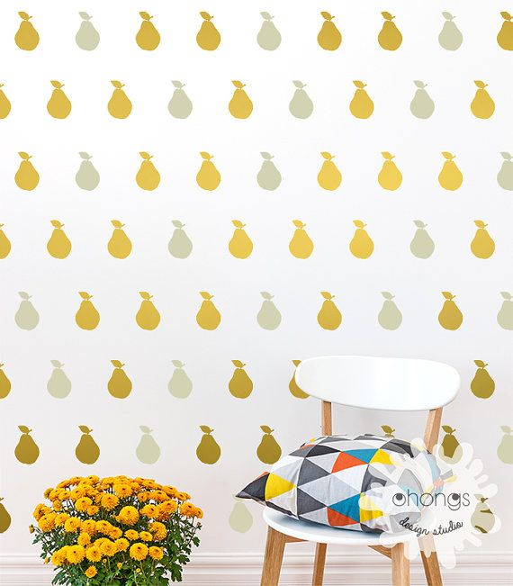 Pear Wall Decal / 2 Color Pear Decal / Fruit by OhongsDesignStudio