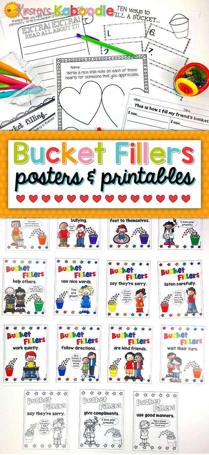 Teach your students about bucket filling with these bucket filler posters and activities! This easy to use, no prep, printable, bucket-filling product incorporates the concept of filling buckets and makes it an easy to grasp concept with 18 full-color posters (also in black and white), Bucket Filler certificates (also in black and white), and 5 bucket filler printables that require work ahead of time. The full color posters are PERFECT for a back to school or behavior expectation bulletin…