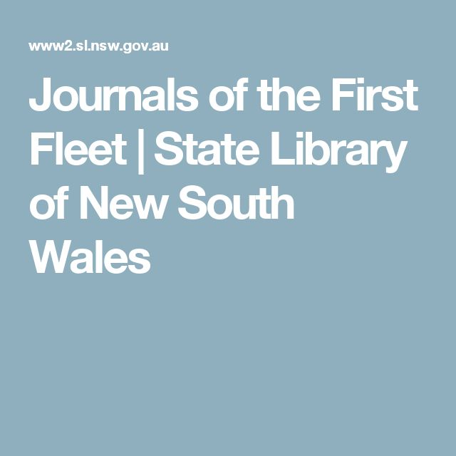 Journals of the First Fleet | State Library of New South Wales