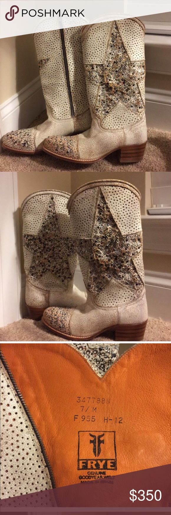 Frye Deborah Studded Boots As seen on Miranda Lambert and several other country singers. Gorgeous star print studded boots by Frye.  These are amazing.  BRAND NEW WITH TAGS.  Would also trade for a 6 1/2. Frye Shoes Heeled Boots
