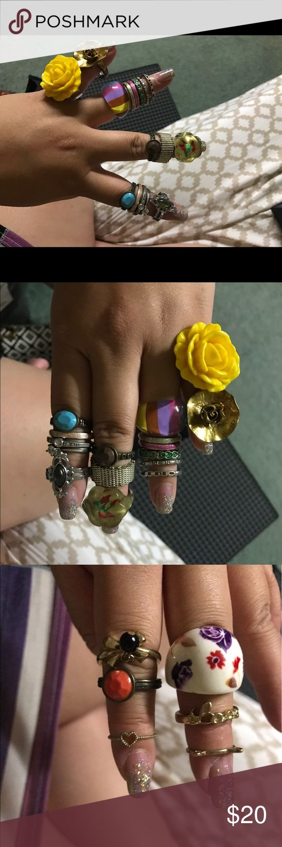 Rings size 7/8 Lots of used rings! Tons of them are size 7/8. I have 2 midi rings in there. They all sort of rusted a little ESP now that I don't even wear them anymore. Just trying to sell these asap to clear up space so price negotiable. Last one is a 4 way style ring! Jewelry Rings