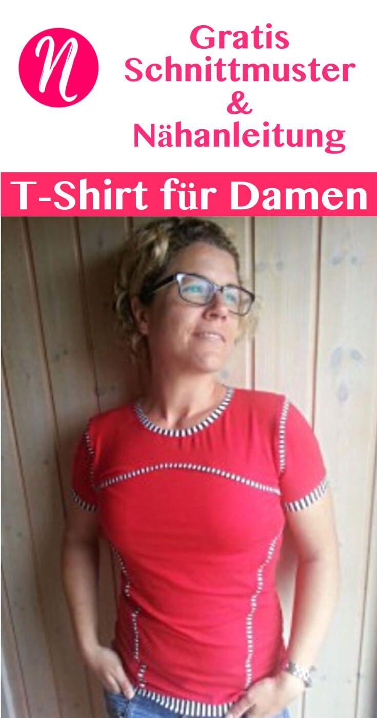 Kostenloses Schnittmuster für ein pfiffiges Damen-Shirt mit Teilungsnähten zum selber nähen. PDF-Schnittmuster Gr. 34-50 ✂ Nähtalente.de - Magazin für kostenlose Schnittmuster ✂ Free sewing pattern for a woman t-shirt in size 34 - 50.