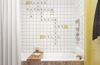 Wanddecoratie in de badkamer...
