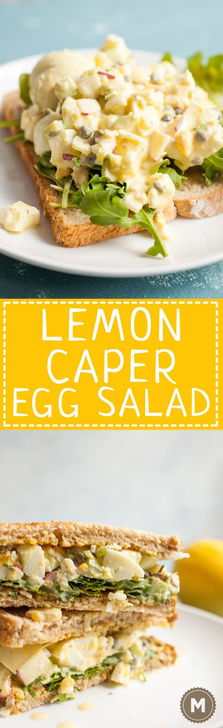 Lemon Caper Egg Salad: Egg salad can be so delicious if you make it right. This version is bright and crunchy with just enough dressing to keep it together. Serve it on white bread with some fresh arugula! | http://macheesmo.com