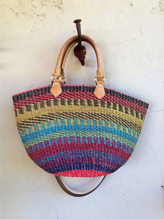 Vintage 1980s Straw Handled Tote Beach School Tote Bag on Etsy, $60.00