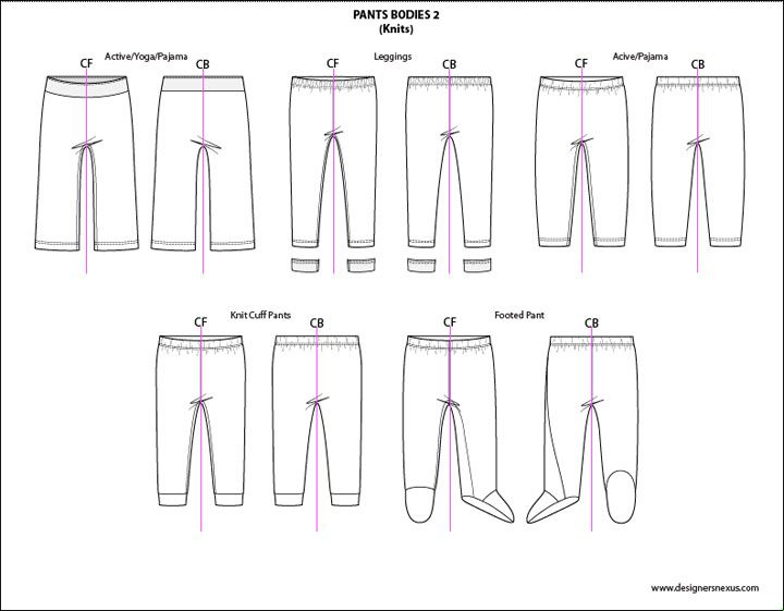 Kids Illustrator Flat Fashion Sketch Templates: Pants 2