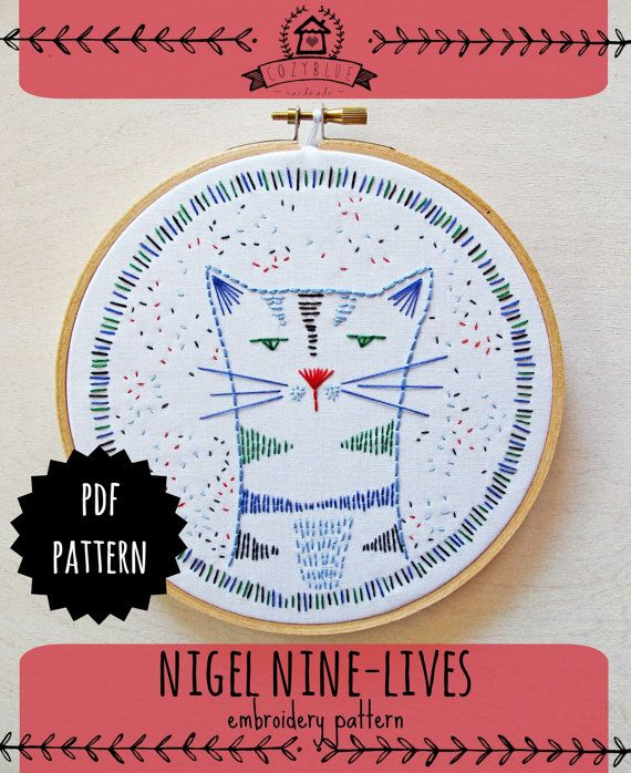 NIGEL NINE-LIVES pdf embroidery pattern, hand embroidery, cat design, grumpy…