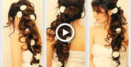 ELEGANT SIDE-SWEPT CURLS WEDDING PROM HAIRSTYLES TUTORIAL | CURLY BRIDAL UPDO FOR LONG HAIR #hair #promhairupdotutorial