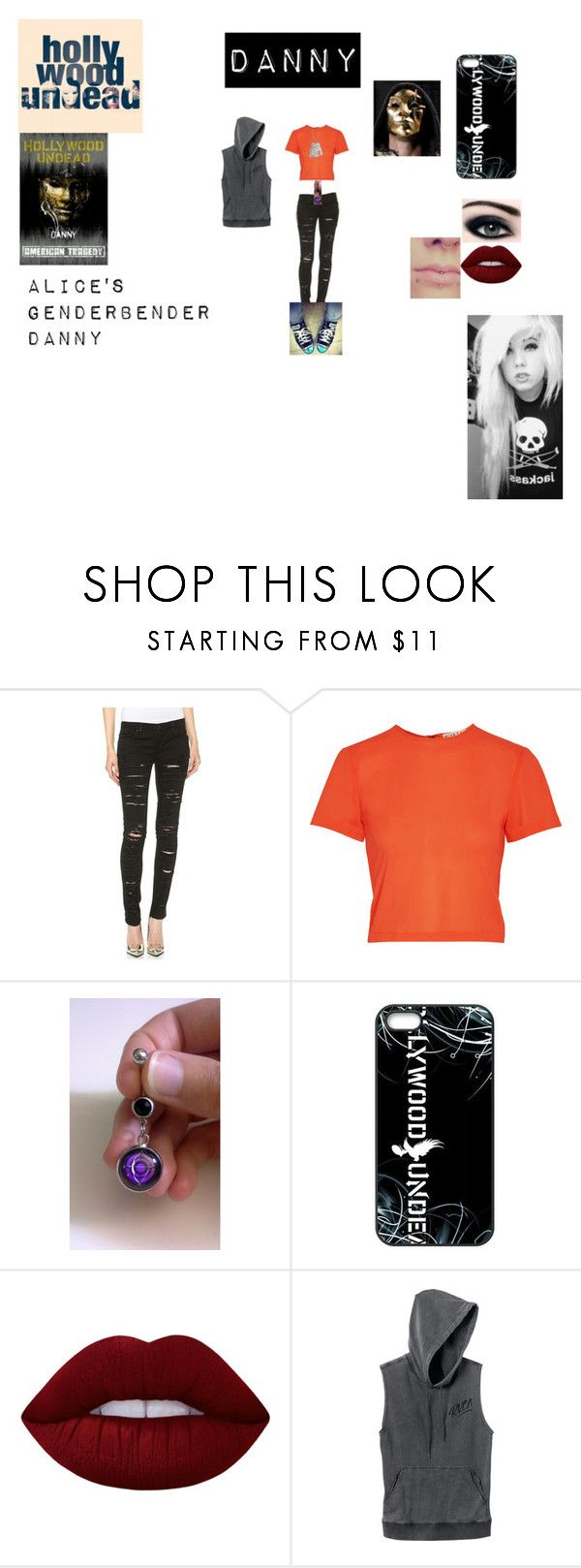 """""""Alice's GenderBender Danny!"""" by alice-the-skatergirl ❤ liked on Polyvore featuring Blank Denim, Alice + Olivia, Bellybutton, Lime Crime, RVCA, emo, scene, Danny and HU"""