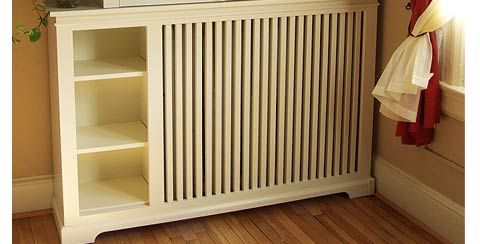 Nice way to hide ugly radiators and create storage - hall way and bedrooms?   Google Image Result for http://www.woodenradiatorcabinet.com/images/kwicks/traditional.jpg