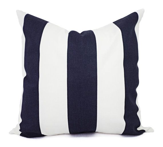 Two Navy Striped Pillow Covers