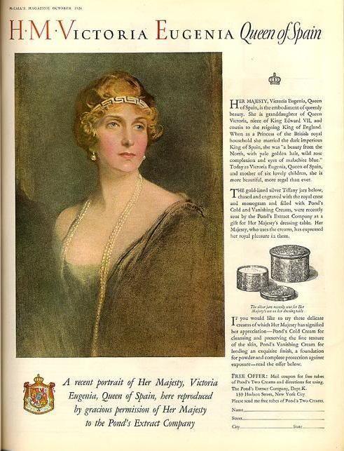 Anuncio de crema Ponds. La marca le regaló las cremas, que ya usaba, en tarros de plata de Tiffany´s forrados de oro, repujados con el escudo de la casa real.