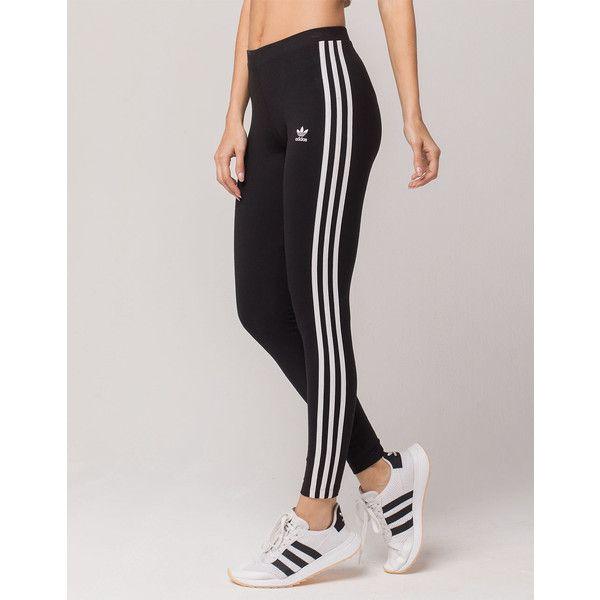 Adidas 3 Stripes Leggings 40 Liked On Polyvore Featuring Pants Leggings Streetwear Pants Striped Leggings Adidas Leggings Outfit Outfits With Leggings