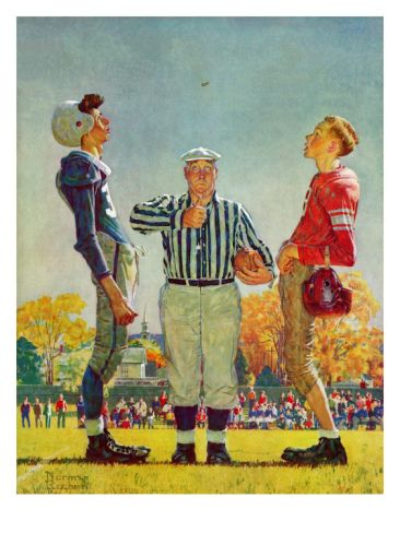 Coin Toss, October 21,1950 Giclee Print by Norman Rockwell