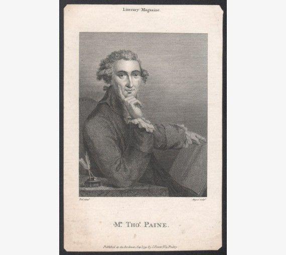 Thomas Paine portrait engraving print Revolution