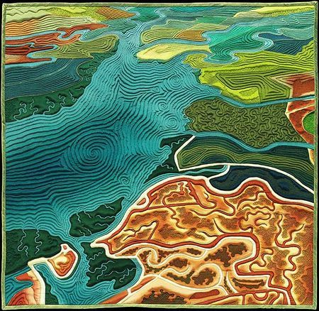 South Bay map art quilt by Linda Gass. This is the view of the southernmost part of San Francisco Bay. What appears to be fields of farmland are actually salt ponds, basins of highly salinated water for industrial salt production.