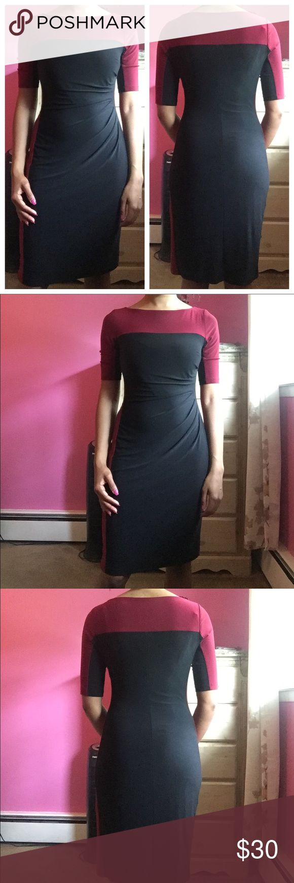 🎉Wrap Front Dress🎉 Black and maroon wrap front dress with ruched detailing on the left side that hugs all your curves. The dress is lined underneath and the material has a soft silky feel to it. Only worn twice, in excellent condition. Dress length: 37 inches. Waist: 28 inches approximately. Bust: 32 inches approximately. Materials: 95% polyester, 5% elastane. Chaps Dresses