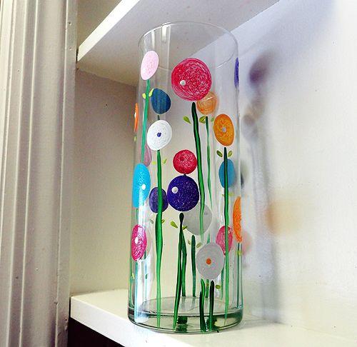 DIY Vasos de cristal decorados