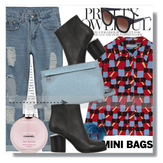 """""""Monnier Freres !!"""" by dianagrigoryan ❤ liked on Polyvore featuring Prada, Thierry Lasry, Chanel and minibags"""