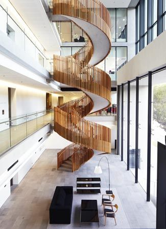 Australian Red Cross Blood Service Sydney. Amazing spiral staircase with Stainless Steel balustrades by Elite Balustrades