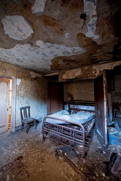 An upstairs bedroom in the apartment units attached to the spectacular Palace Theatre in Gary, Indiana.