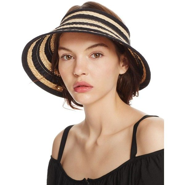 Bettina Braided Straw Ribbon Stripe Visor (£39) ❤ liked on Polyvore featuring accessories, hats, straw sun visor hat, braid hat, straw visor hat, woven hat and striped hat